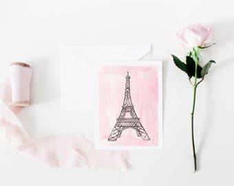 Eiffel Tower Valentine's Day Card - Paris Notecard, Eiffel Tower Card, Eiffel Tower Notecard, Pink Black Paris Notecard, Paris Greeting Card