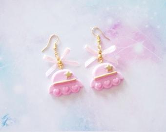 earrings kawaii pink flying saucer polymer clay