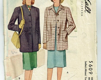 "Vintage Sewing Pattern Misses Coat 1940s McCall 5609 32"" Bust - Free pattern Grading E-Book Included"