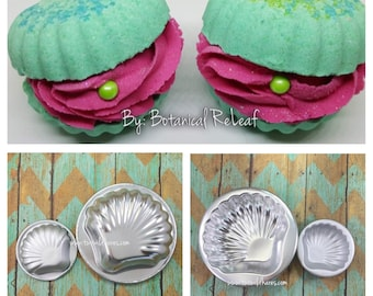 """CLAMSHELL Bath Bomb Mold Set, Metal, Large & Small Clam Mold, 4"""" and 2 1/4"""", Two Wild Hares"""
