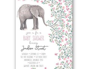 Floral Elephant Baby Shower Invitation