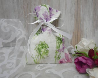 Floral Gift Bags. Small Favor Bags. White Linen Bags. Party Favor Bag. Candy wedding favor