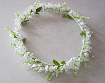 Wedding Flower Crown Lily of the Valley bridal veil accessories Flower girl Halo headpiece silk flowers hair wreath Spring lilly