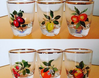 Vintage Fruit Shot Glasses