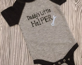 Daddy's Little Helper Baby Raglan Body Suit / Father's Day Baby Raglan Body Suit / Customized Daddy's Little Helper