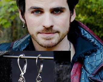 Captain Hook Earrings / Once upon a Time Fandom Jewelry / Cosplay / Chainmaille Eearrings / Chainmaille Fandom