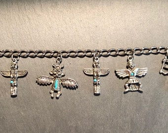 Silver Totem Bracelet with Turquoise
