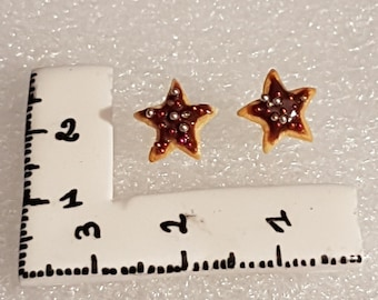 Biscuit chocolate FIMO star earrings