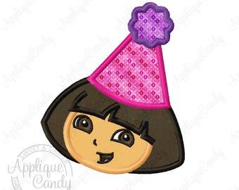 Dora Birthday Applique 2 Machine Embroidery Design 4x4 5x7 6x10 Party Hat INSTANT DOWNLOAD