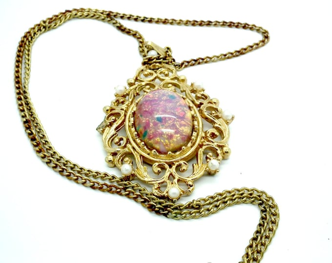 pendant necklace for women, pink necklaces for women, blush pink necklace, boho necklace long, blush pink jewelry, vintage jewelry necklace