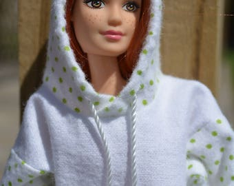 Barbie Hoodie White Green Polka Dot Barbie Clothes Curvy Barbie Clothes Fashionista Clothes Ready to Ship