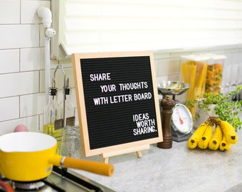 Changeable Felt Letter Board 12x12 Inches with 722 Letters, White 360, Gold 181, Pink 181, Oak Wood Frame | Ideas Worth Sharing