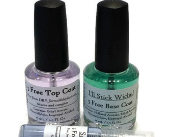 Manicure Kit - Perfect Mani Trio - Set of one each Base Coat, Quick Dry Oil, Crystal Clear Top Coat - Vegan, 5-free Manicure Set