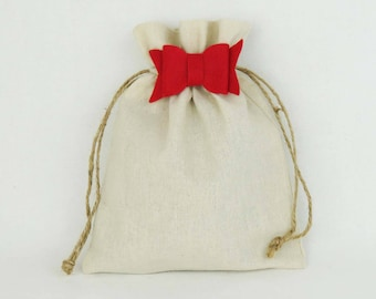 8x8 Linen Gift Bag - Small Reusable Gift Bag, Drawstring Gift Sack with Red Bow, Gift Wrapping, Rustic Fabric Gift Wrap, Eco Friendly