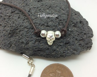 Brown Leather thong with 925 sterling silver skull, balls & clasp