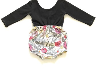 Black white Romper / Floral Romper / Bubble Romper / Girl Romper / Baby Girl Romper / Fall Romper / Fall Outfit / Long Sleeve Romper