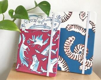 Anxious Animals Sketchbooks - Stress Wolves and Tigerpede Original Notebook Journal Designs