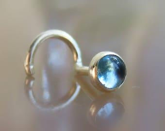 tiny blue topaz nose stud - 3mm topaz nose screw