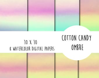 Cotton candy ombre watercolor digital paper 10 x 10