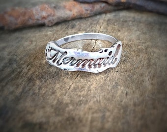 Mermaid Ring, Beach Jewelry Statement Ring, Fairytale Gift Silver Ring, Ocean Jewelry Stacking Ring, Handmade Trendy Boho Jewelry