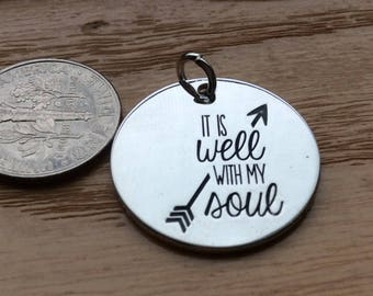 """1 - """"It is Well With my Soul"""" pendant, New Series, Silver plated necklaces, Bless the Lord necklace, Bible Verse jewelry"""