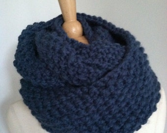 Knitted Soft Bulky Dusty Blue Seamless Infinity Scarf Handmade Accessories Ready To Ship