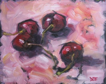 CHERRIES IN PINK. Oil Painting, Vermont country art, Archival Print of original painting & Free Shipping!