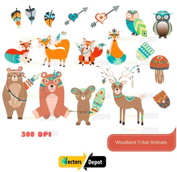 Tribal Animal Art Clipart Animals Woodland Clipart Cute
