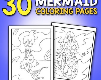 BEST VALUE 30 Mermaid Coloring Pages Mermaid Coloring Book: 30 Large Coloring Pages for Adults and Children with Enchanting Little Mermaids