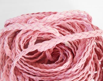 Pink 1 m braided artificial color 5 mm leather cord. (970003)