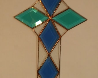 Beveled Stained Glass Cross