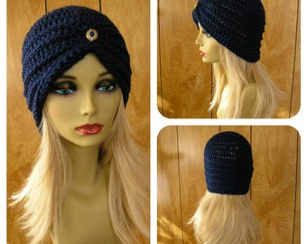 "Crochet turban hat, Royal blue acrylic yarn with a vintage button, will fit most, 21"" around"