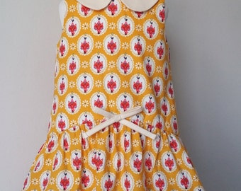 Girls cat dress, vintage style, Peter pan collar, made in the UK