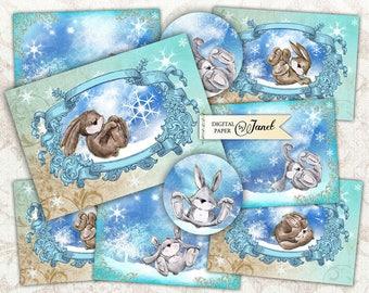 Snow Cards - digital collage sheet - set of 6 cards - Printable Download