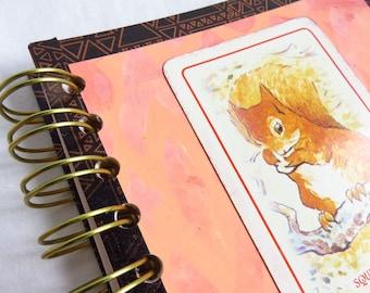 Squirrel! - Spiral bound art journal - travel journal, child journal, childhood, playing card, beatrix potter, nutkin, art paper, cardstock
