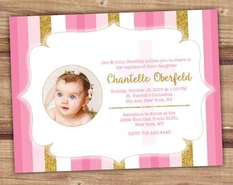 Baptism Invitation Girl, Gold Pink Baptism Invitation, Baptism Invitation, 5 x 7 Girl Baptism Invitation, 6 x 8 Baptism Invitations, 4x6