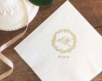 Modern Elegance Monogram and Wreath Napkins | Wedding or Personalized Home Gift | Darby Cards