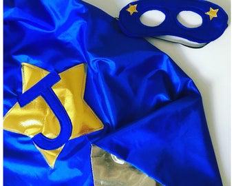 Custom Made Cape, Superhero Cape, Gold Lining, Child Superhero Cape, Kids Superhero Dress Up, Toddler Cape Mask. Choose Colour and Letter.