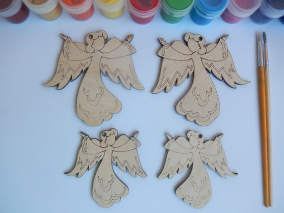 angel christmas ornament unfinished wood ornament for x mas angel cutouts angel decoration angel crafts angel wood shapes 043 - Unfinished Wooden Christmas Ornaments