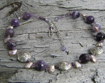 Amethyst, Pearl and Silver Beaded Necklace