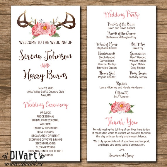 Rustic wedding program wedding ceremony order of events junglespirit