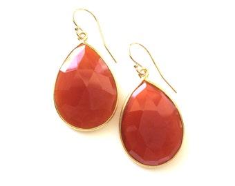 Carnelian Gold Earrings, Carnelian Tear Drop Earrings, Genuine Gemstone