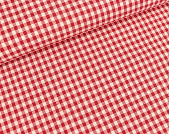 Cotton red and white checkered 5mm (7.70 EUR / meter)