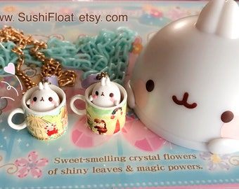 Molang Teacup Necklace - Fairytale - Three Little Pigs/Snow White