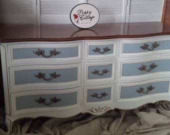 """Dresser French Provincial Serpentine Low Boy Style Wood Dresser 64"""" Long Poppy Cottage Custom PAINT to ORDER Vintage Painted Furniture"""