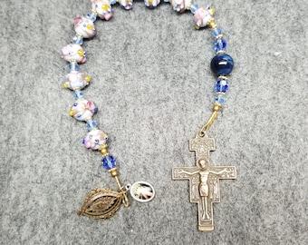 St Francis Rosary Chaplet aka Tenner Blue Lampwork Glass Sacred Heart Divine Mercy Handmade HeartFelt Rosaries