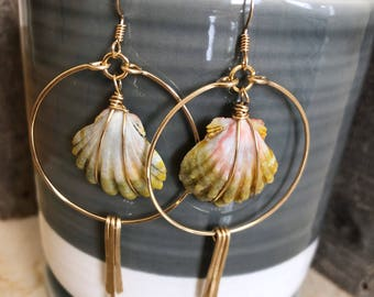 14kt GF Hoops with Hawaiian Sunrise Shells and Gold Spikes