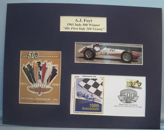 Auto Racing Great A.J. Foyt Wins the 1961 Indy 500 & First day Cover of the Indianapolis 500 stamp
