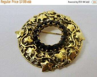 On Sale Vintage Ornate Prong Set Black Rhinestone Leaf Circle Pin Item K # 1170