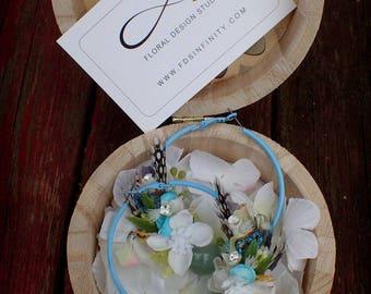 Handmade earrings, Orange, Flowers, Circle earrings, Big circle earrings, Hoop Earrings